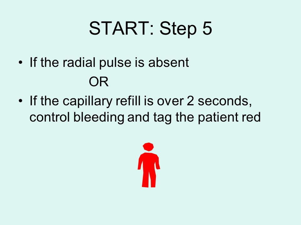 START: Step 5 If the radial pulse is absent OR