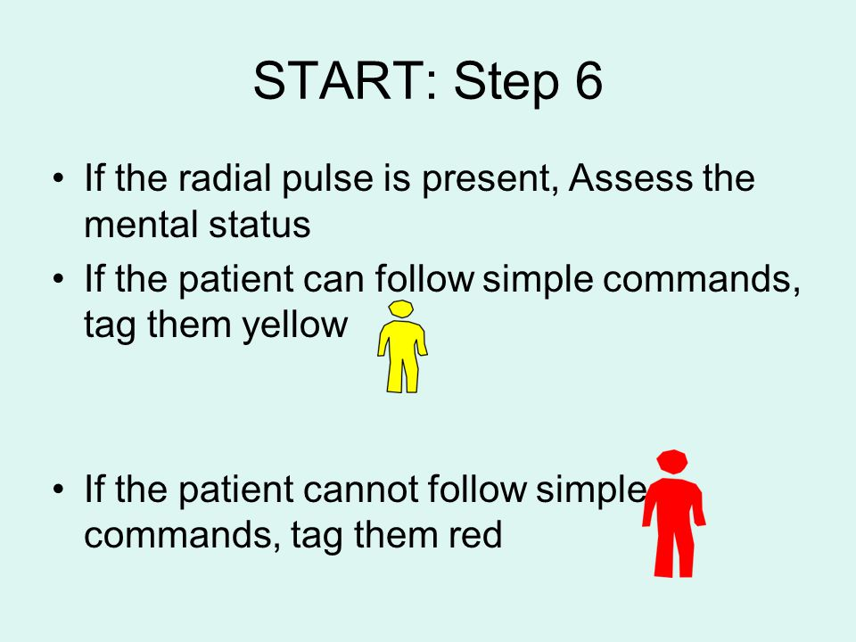 START: Step 6 If the radial pulse is present, Assess the mental status