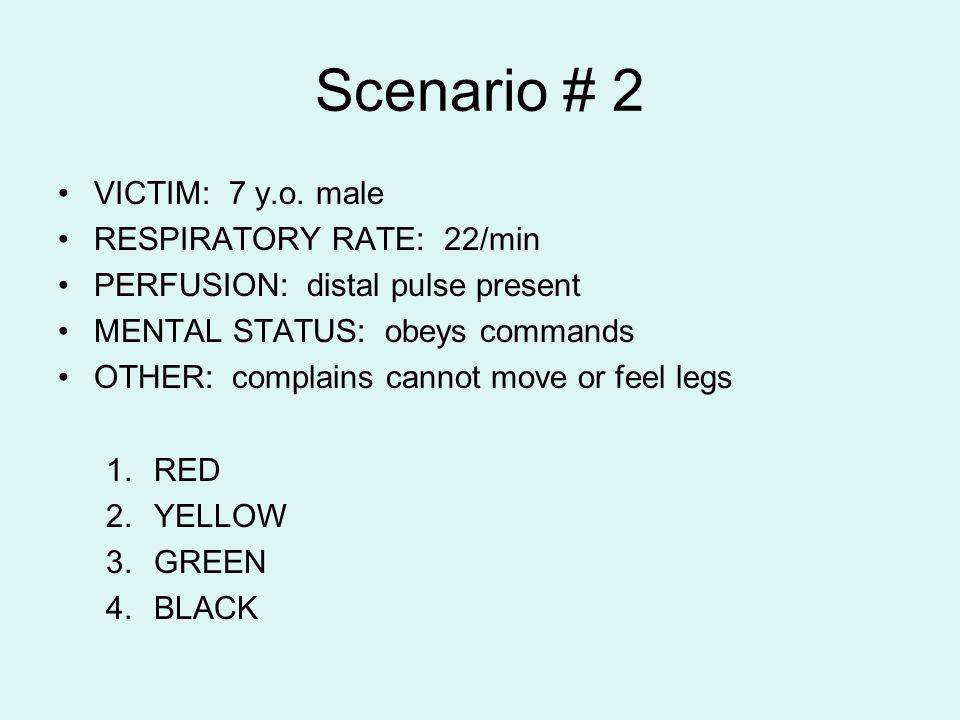 Scenario # 2 VICTIM: 7 y.o. male RESPIRATORY RATE: 22/min