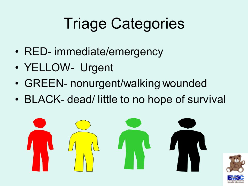 Triage Categories RED- immediate/emergency YELLOW- Urgent