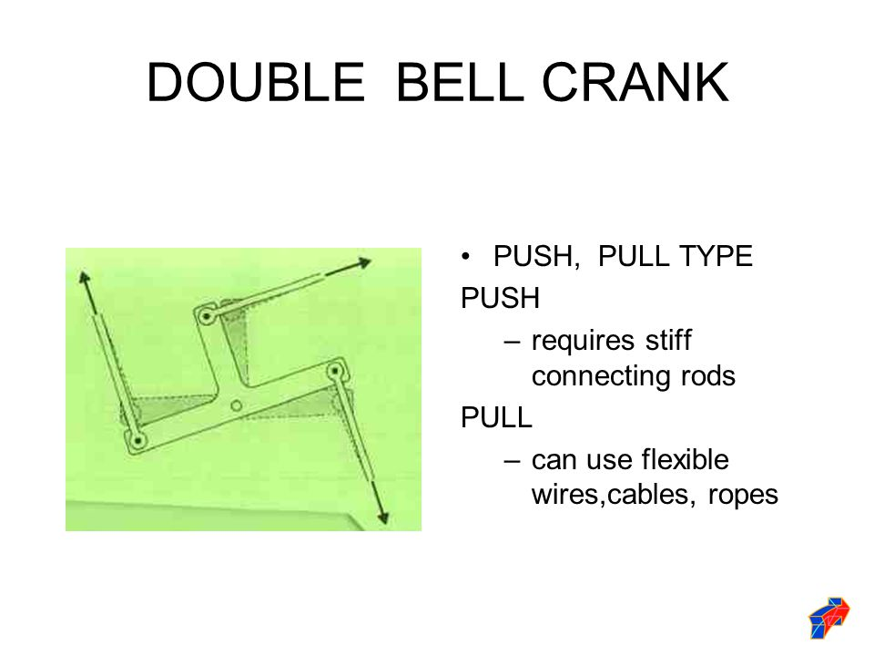 DOUBLE BELL CRANK PUSH, PULL TYPE PUSH requires stiff connecting rods