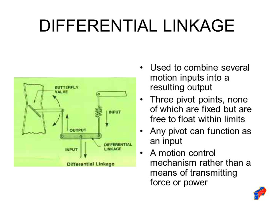 DIFFERENTIAL LINKAGE Used to combine several motion inputs into a resulting output.
