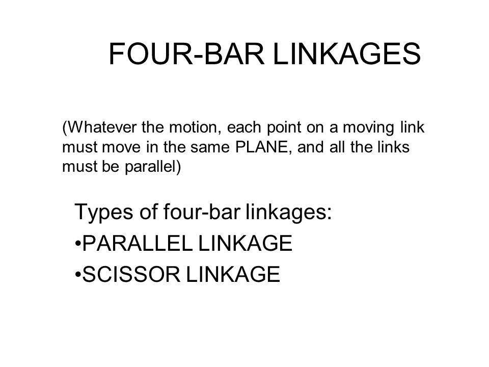 Types of four-bar linkages: PARALLEL LINKAGE SCISSOR LINKAGE