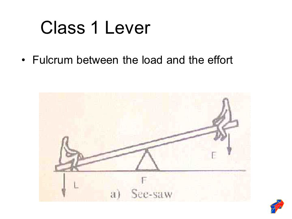 Class 1 Lever Fulcrum between the load and the effort