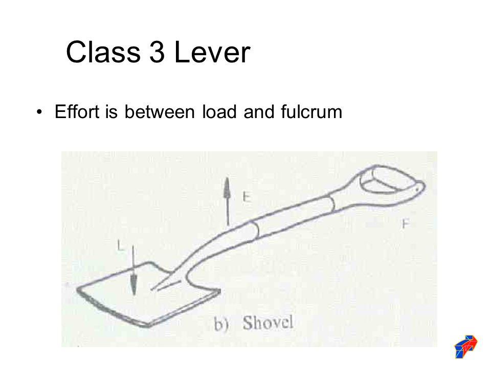 Class 3 Lever Effort is between load and fulcrum