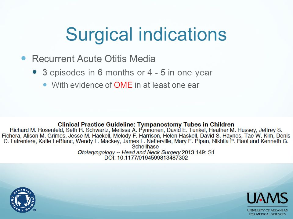 Surgical indications Recurrent Acute Otitis Media
