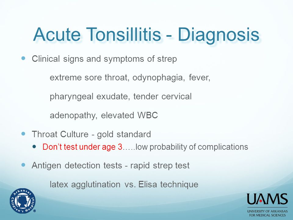 Acute Tonsillitis - Diagnosis