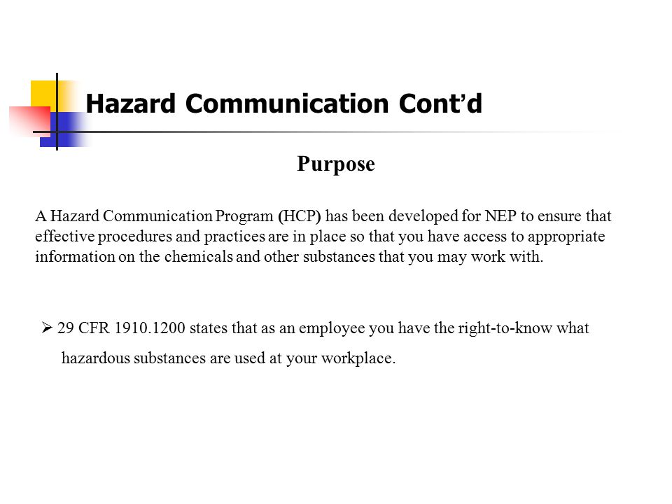 Hazard Communication Cont'd