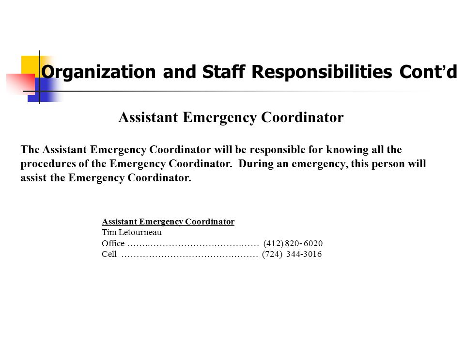 Assistant Emergency Coordinator
