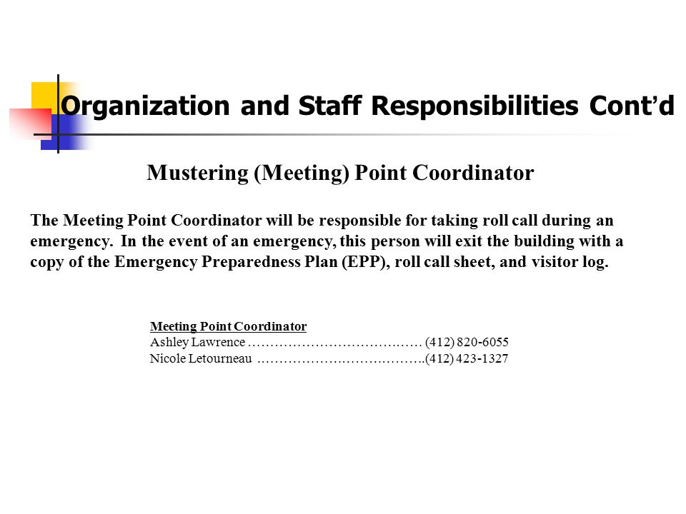 Mustering (Meeting) Point Coordinator