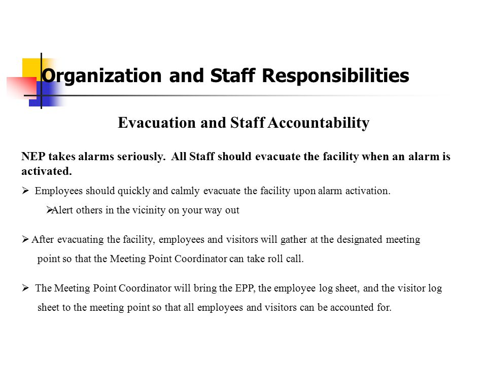 Evacuation and Staff Accountability