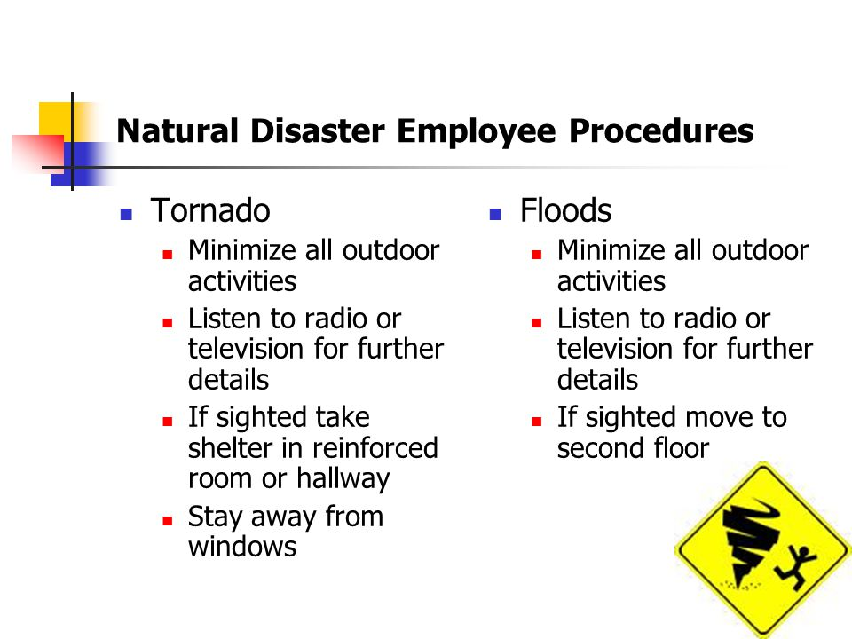 Natural Disaster Employee Procedures