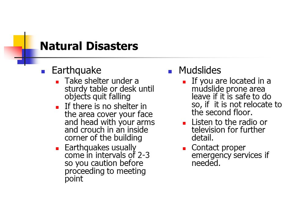 Natural Disasters Earthquake Mudslides