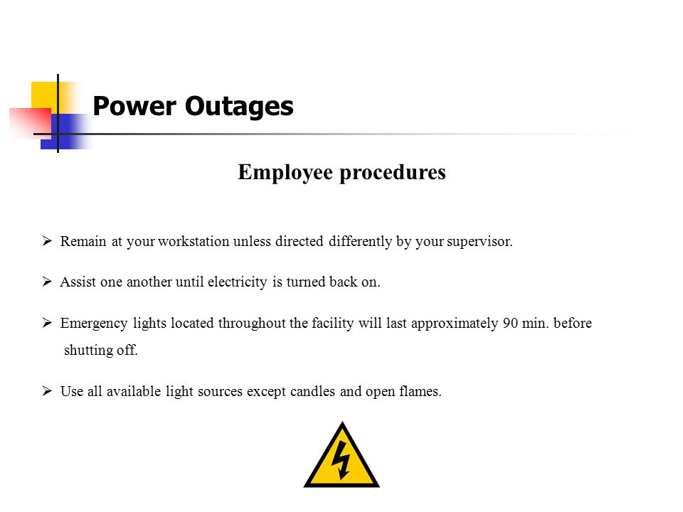Power Outages Employee procedures