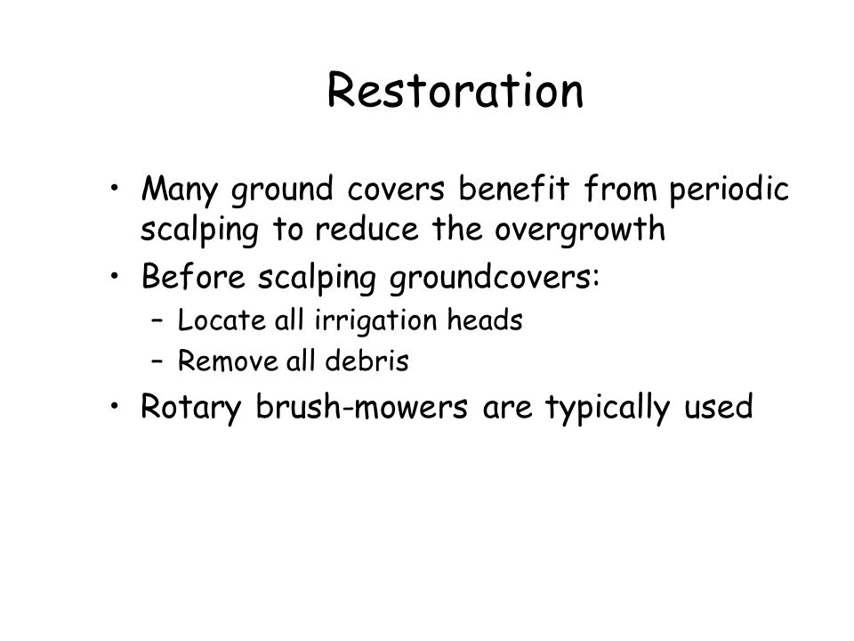 Restoration Many ground covers benefit from periodic scalping to reduce the overgrowth. Before scalping groundcovers: