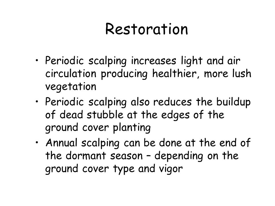 Restoration Periodic scalping increases light and air circulation producing healthier, more lush vegetation.