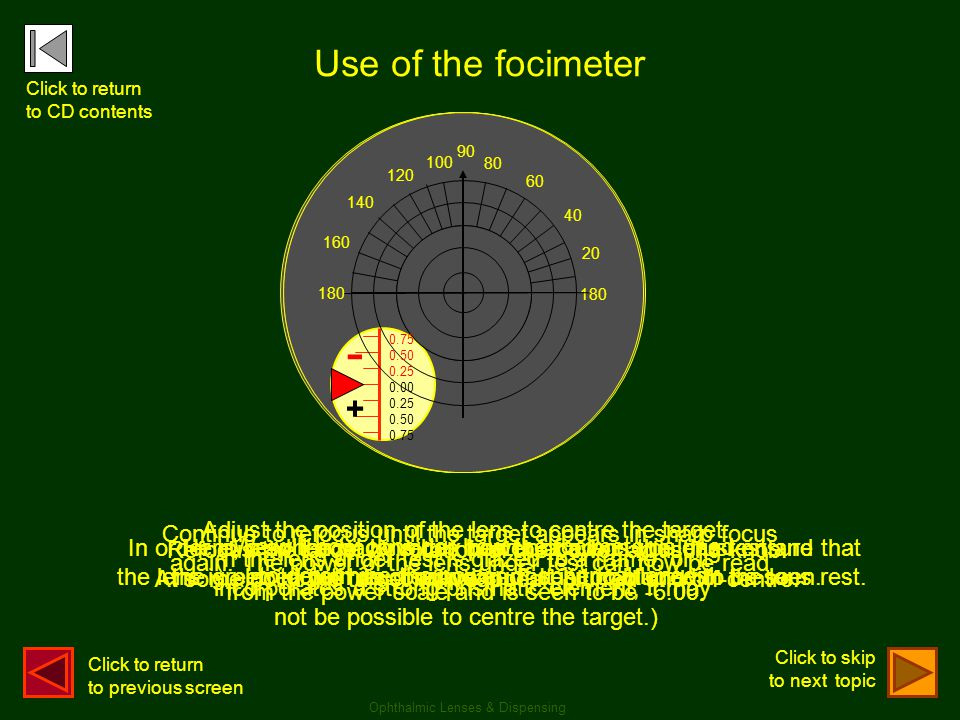 - - - Use of the focimeter + + +