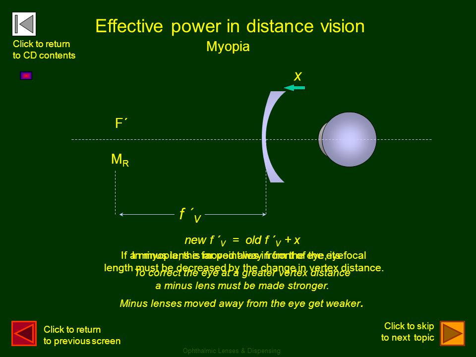 Effective power in distance vision