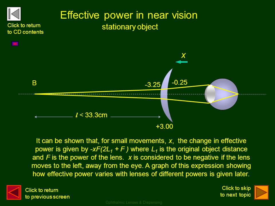 Effective power in near vision