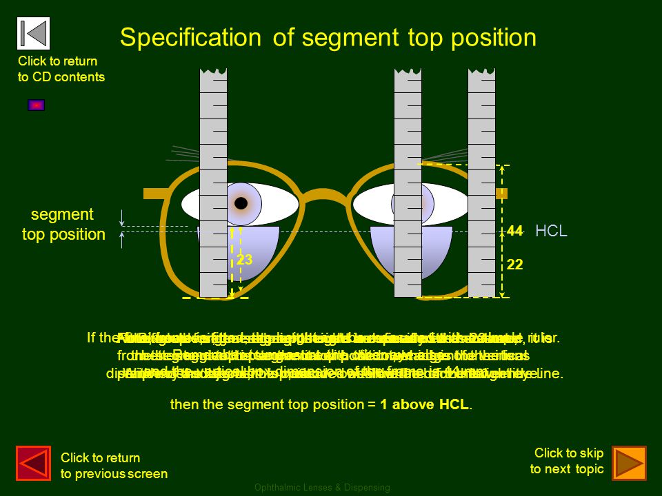 Specification of segment top position