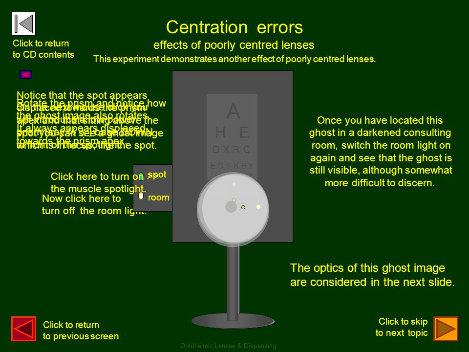 A A Centration errors H E H E effects of poorly centred lenses