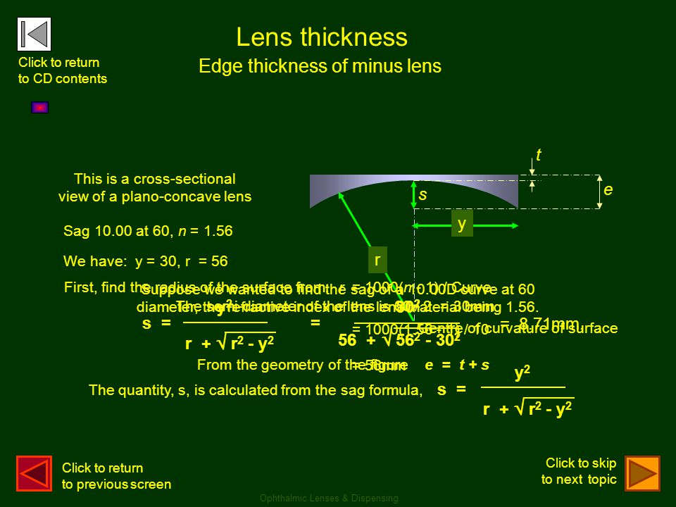 Lens thickness Edge thickness of minus lens t e r y s s = y2