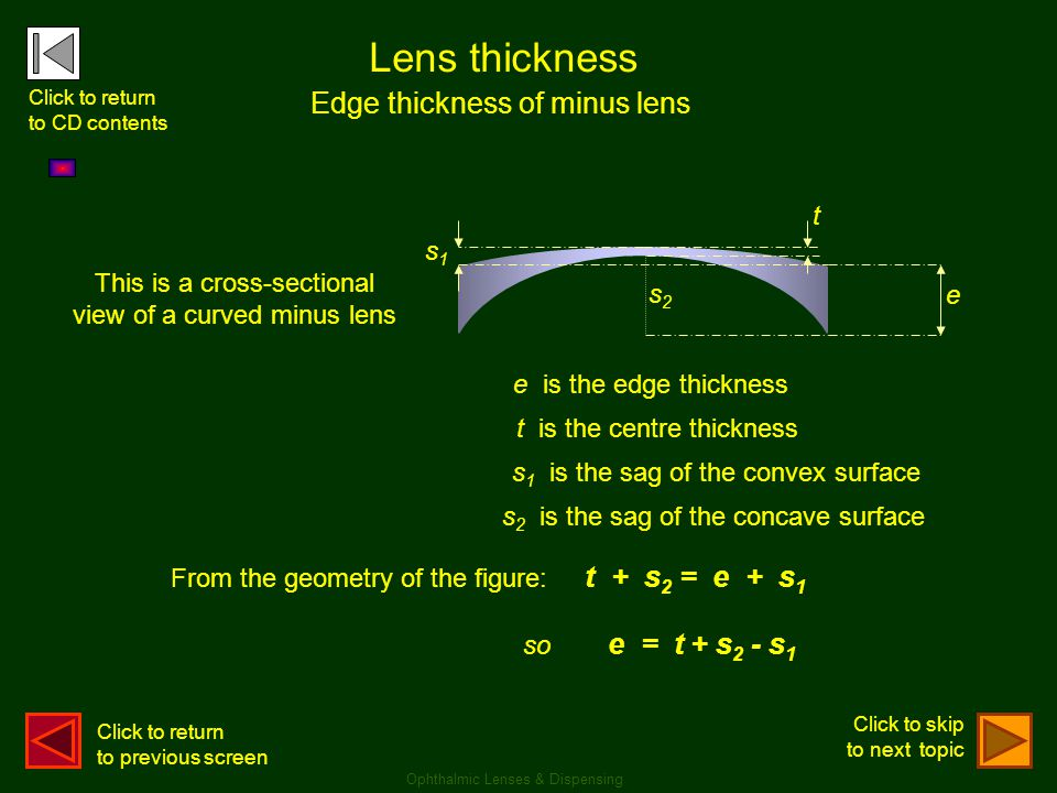 Lens thickness Edge thickness of minus lens so e = t + s2 - s1 t s1