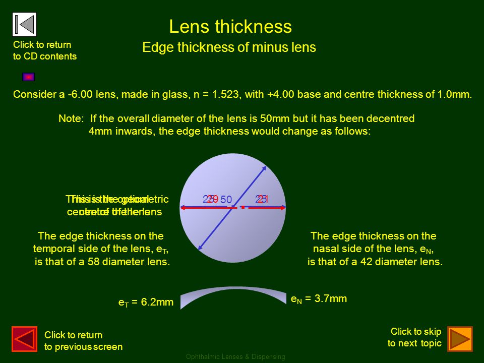 . . Lens thickness Edge thickness of minus lens