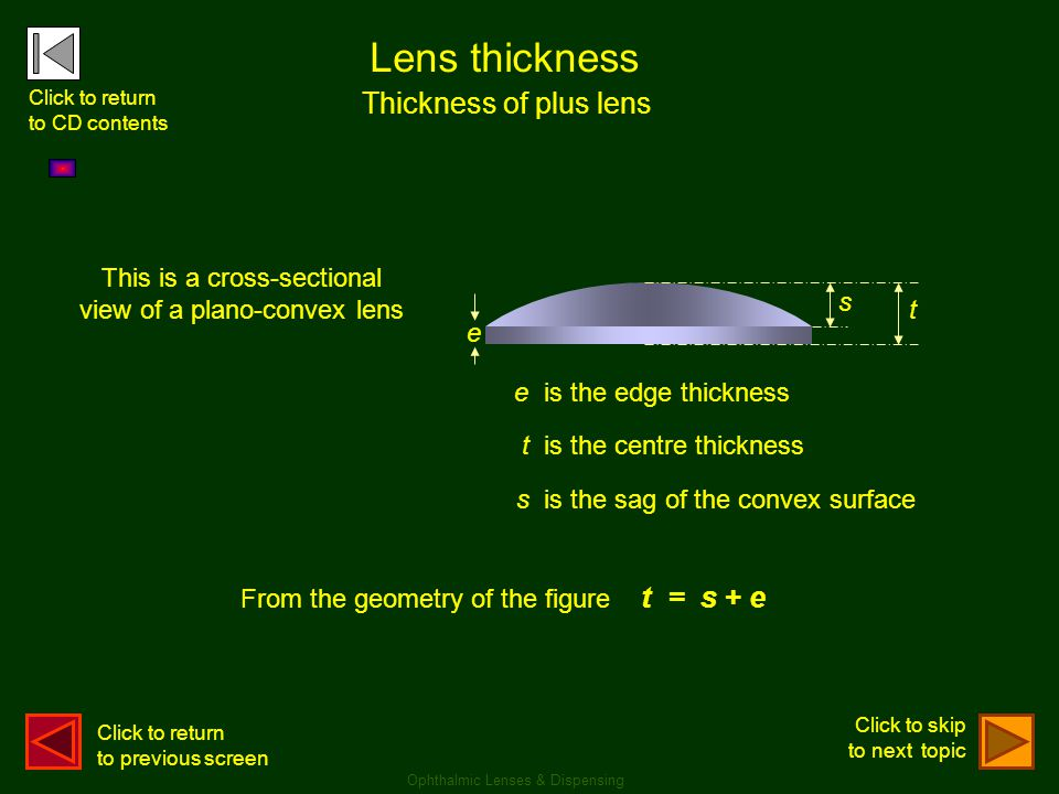Lens thickness Thickness of plus lens This is a cross-sectional