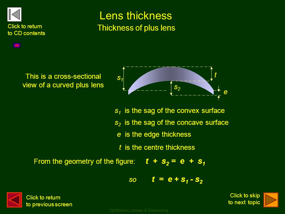 Lens thickness Thickness of plus lens so t = e + s1 - s2 t