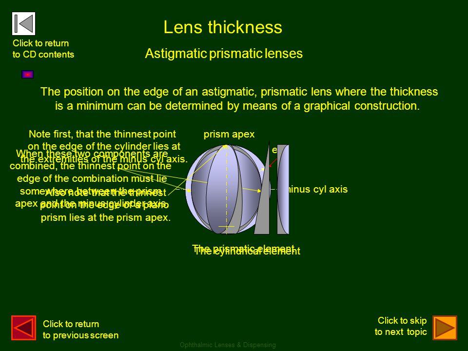 Lens thickness Astigmatic prismatic lenses 