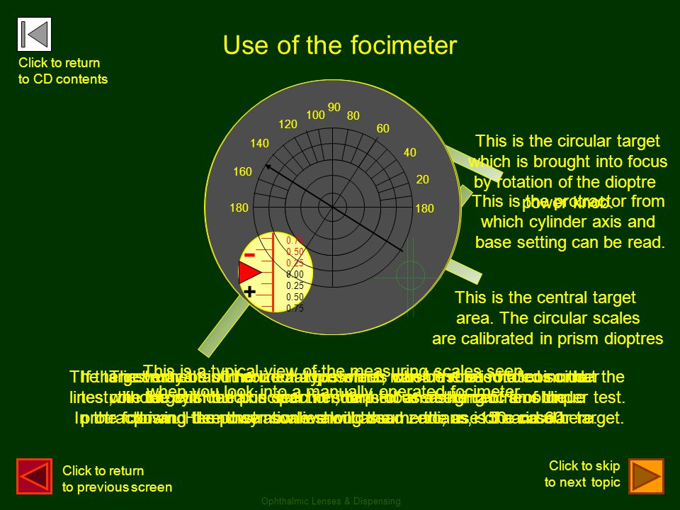 Use of the focimeter Click to return. to CD contents. 180. 90. 80. 60. 40. 20. 100. 120. 140.