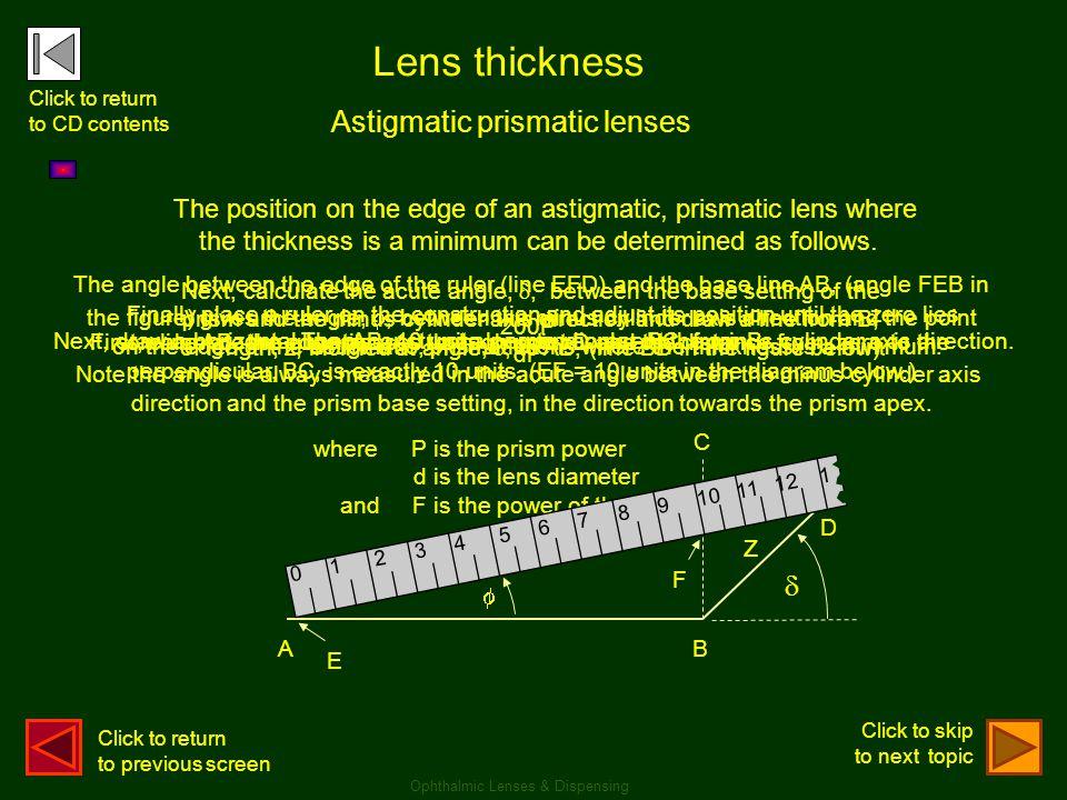 Lens thickness Astigmatic prismatic lenses z 