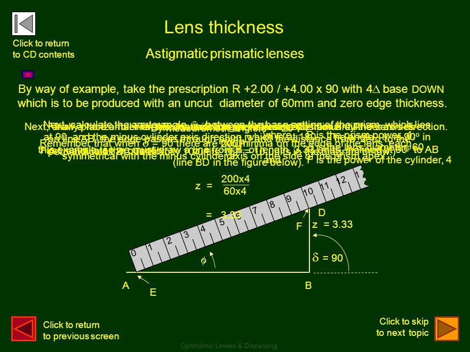 Lens thickness Astigmatic prismatic lenses  = 90