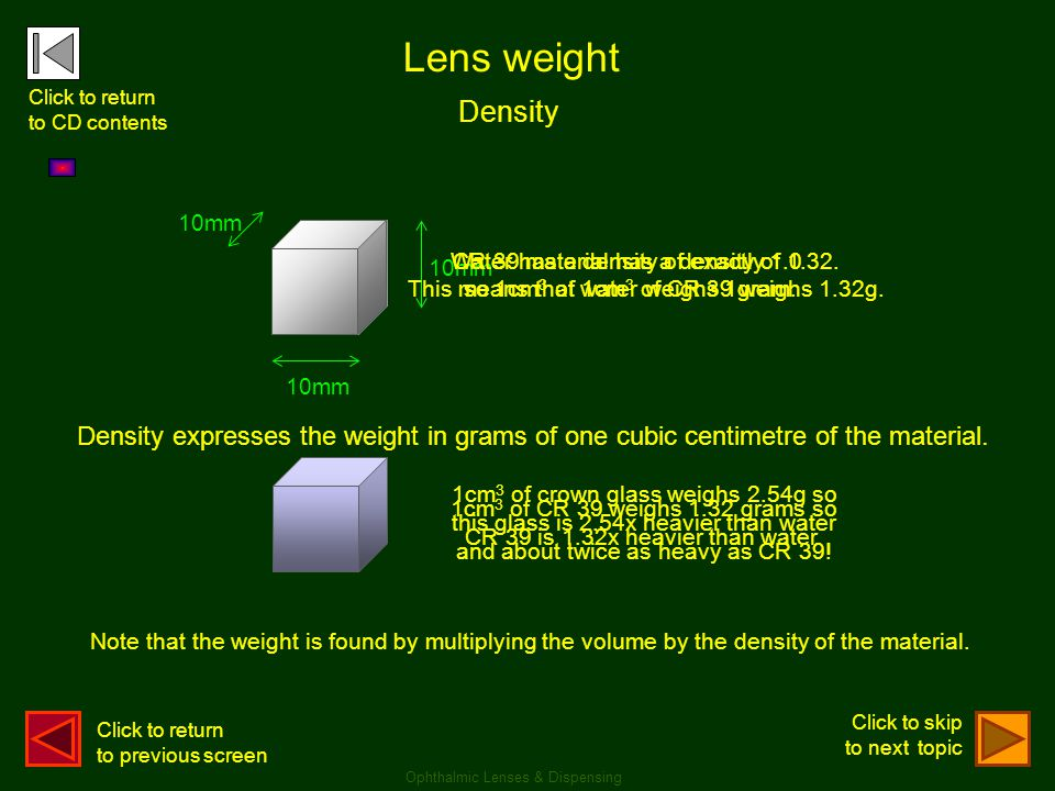 Lens weight Click to return. to CD contents. Density. 10mm. 10mm. CR 39 material has a density of 1.32.