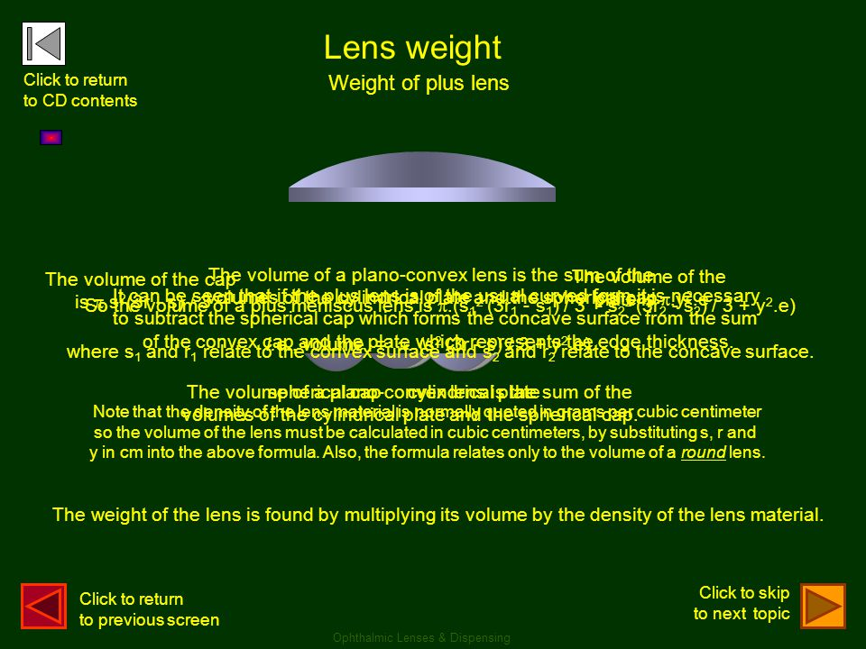 Lens weight Weight of plus lens The volume of the cap