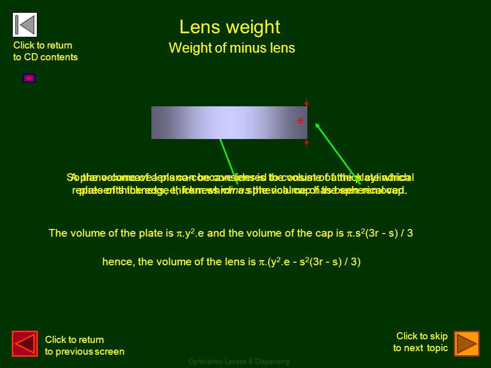 Lens weight Weight of minus lens e