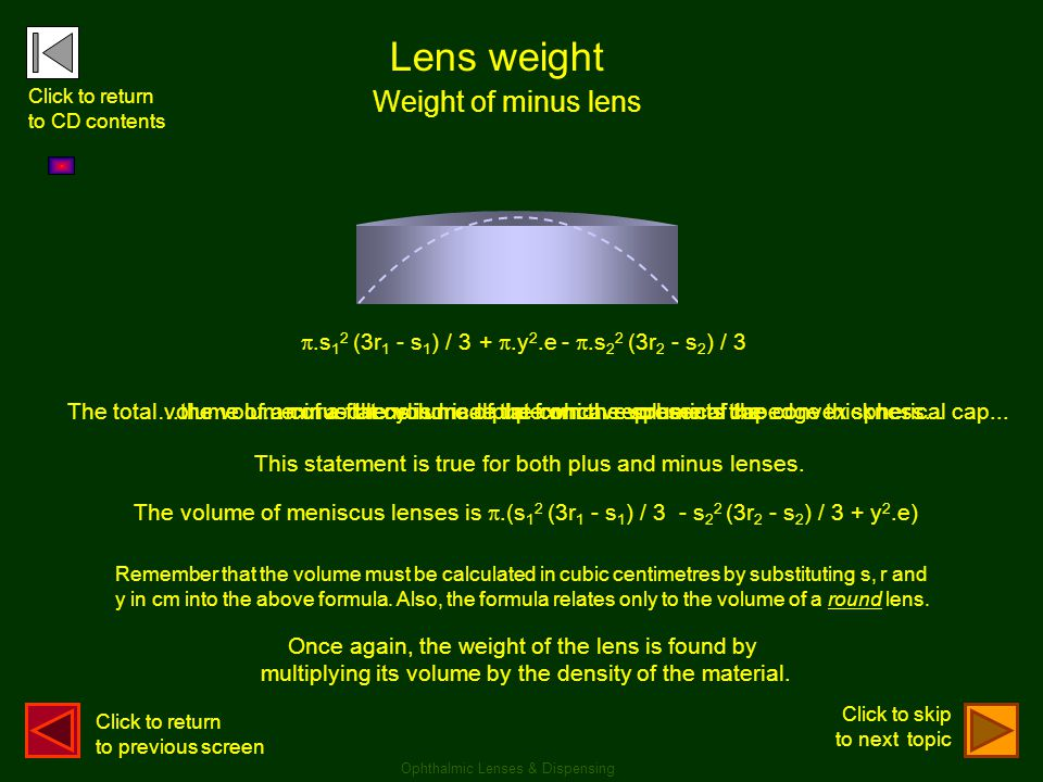 Lens weight Weight of minus lens .s12 (3r1 - s1) / 3 + .y2.e