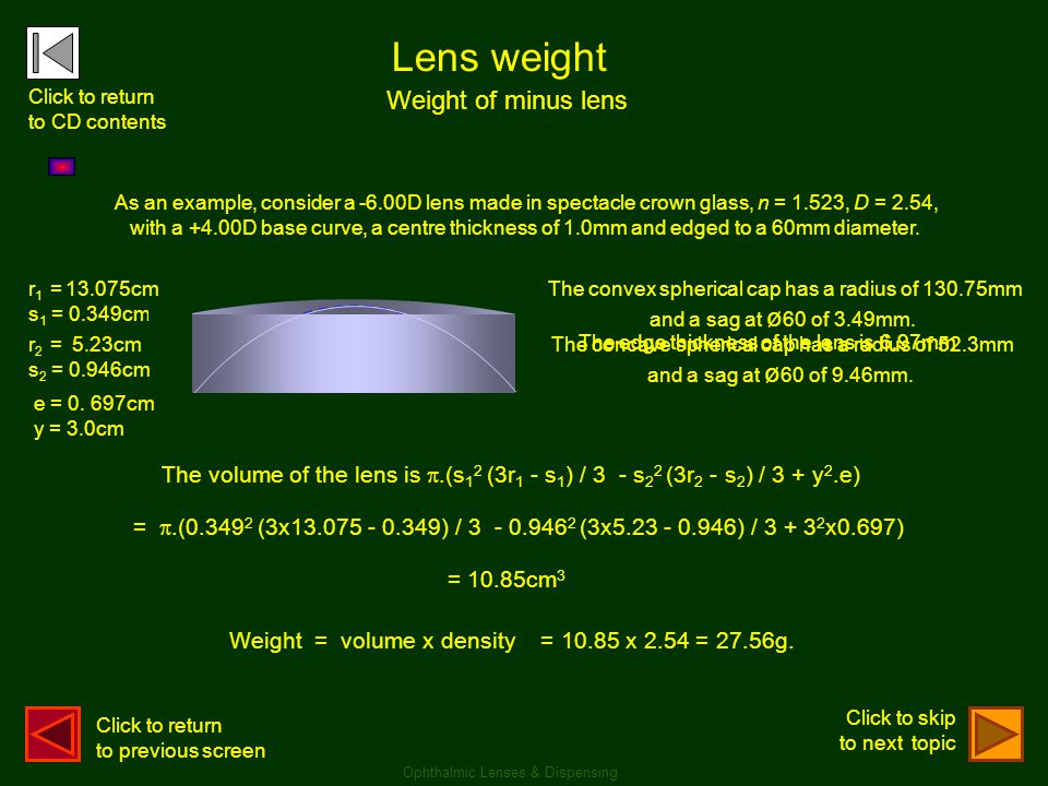 Lens weight Weight of minus lens