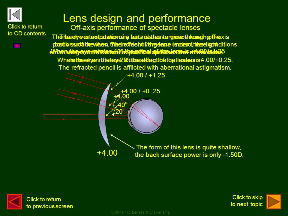 Lens design and performance