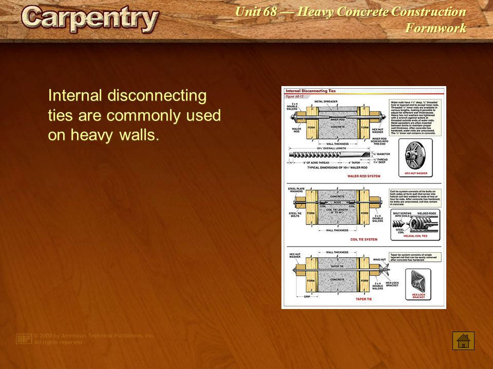 Internal disconnecting ties are commonly used on heavy walls.