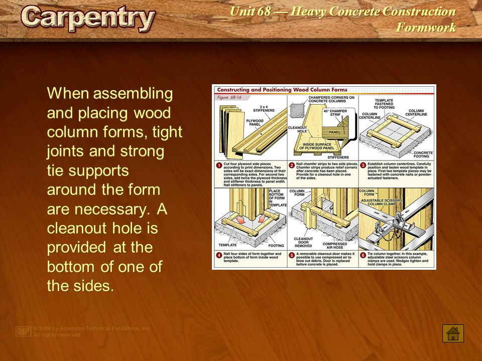 When assembling and placing wood column forms, tight joints and strong tie supports around the form are necessary. A cleanout hole is provided at the bottom of one of the sides.