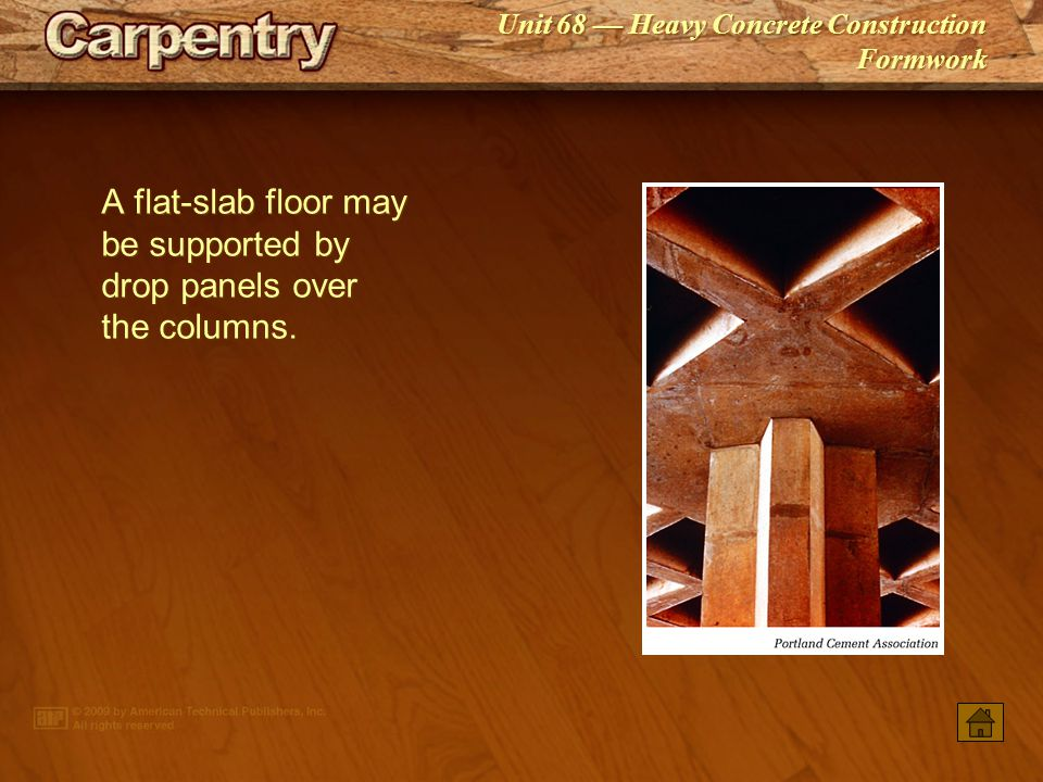A flat‑slab floor may be supported by drop panels over the columns.