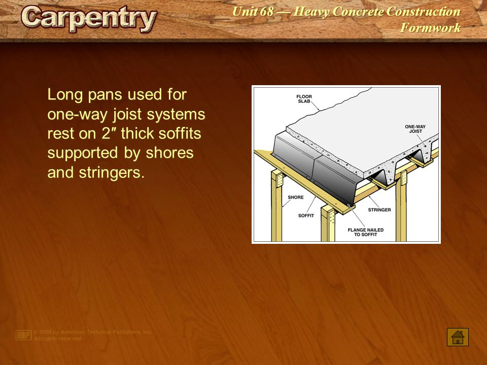 Long pans used for one‑way joist systems rest on 2″ thick soffits supported by shores and stringers.