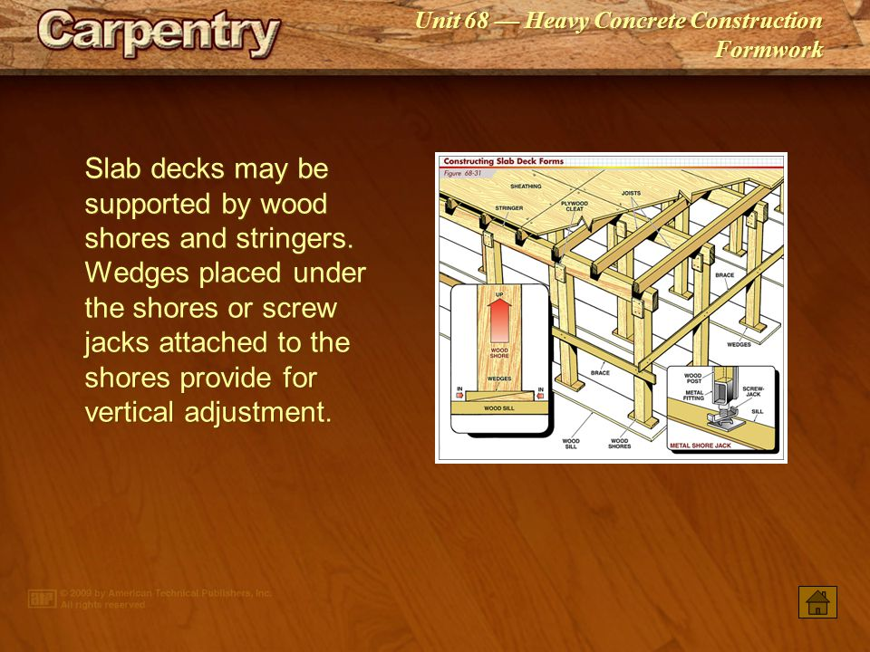 Slab decks may be supported by wood shores and stringers