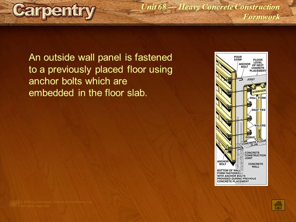 An outside wall panel is fastened to a previously placed floor using anchor bolts which are embedded in the floor slab.