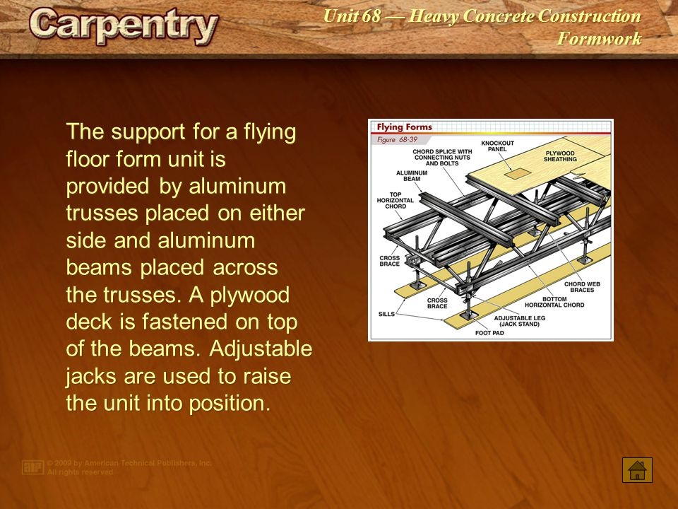 The support for a flying floor form unit is provided by aluminum trusses placed on either side and aluminum beams placed across the trusses. A plywood deck is fastened on top of the beams. Adjustable jacks are used to raise the unit into position.