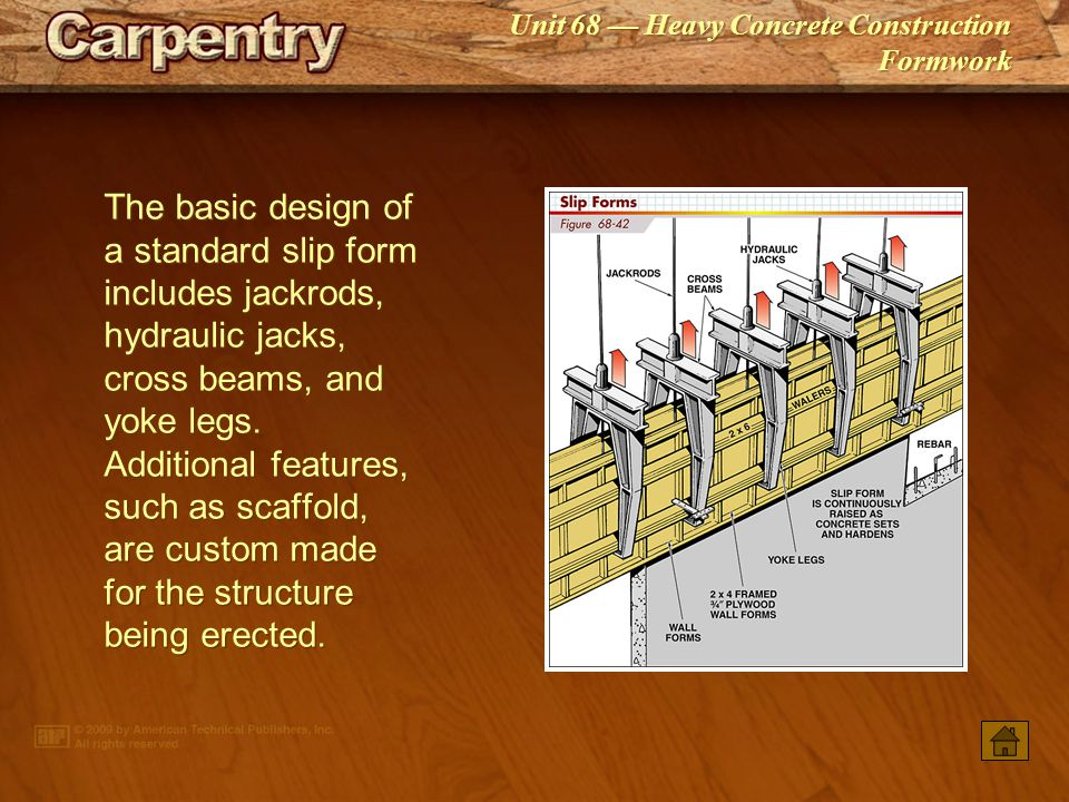 The basic design of a standard slip form includes jackrods, hydraulic jacks, cross beams, and yoke legs. Additional features, such as scaffold, are custom made for the structure being erected.
