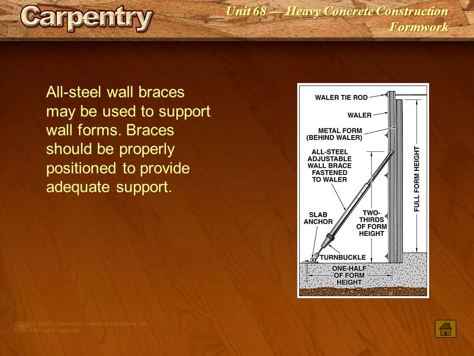 All‑steel wall braces may be used to support wall forms