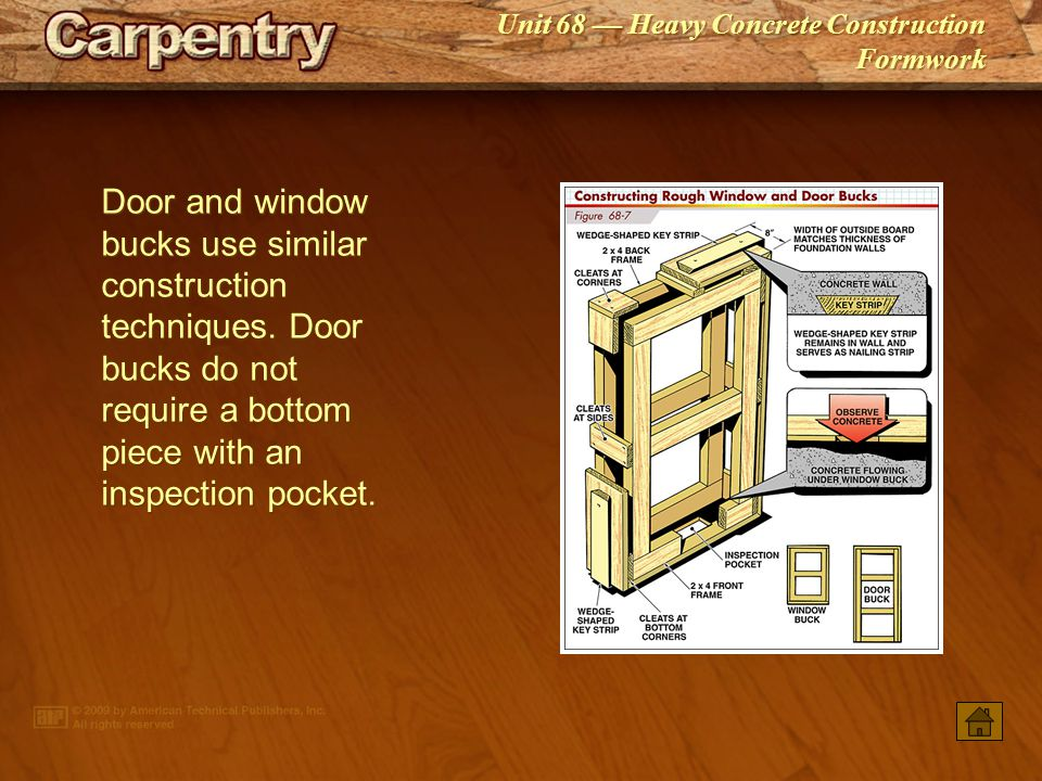 Door and window bucks use similar construction techniques